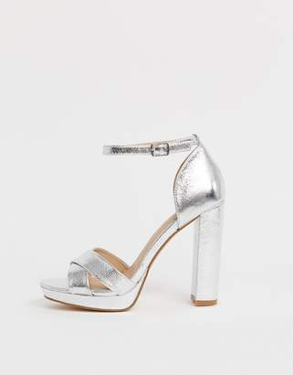 Head Over Heels By Dune Namba silver flatform ankle strap heeled sandals