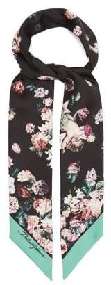 Dolce & Gabbana Floral Cherub Print Silk Scarf - Womens - Black