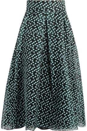 Lela Rose Pleated Fil Coupé Organza Midi Skirt