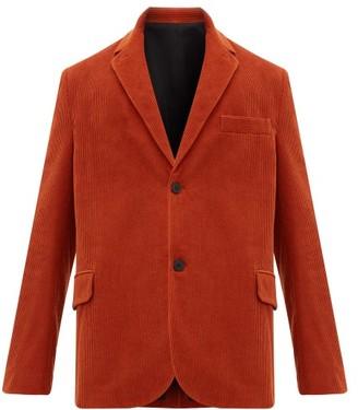 Raey Single Breasted Cotton Blend Corduroy Blazer - Mens - Dark Orange