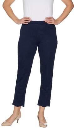 Isaac Mizrahi Live! Petite Stretch Knit Lace Ankle Pants