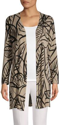Kasper Suits Printed Open-Front Duster Cardigan