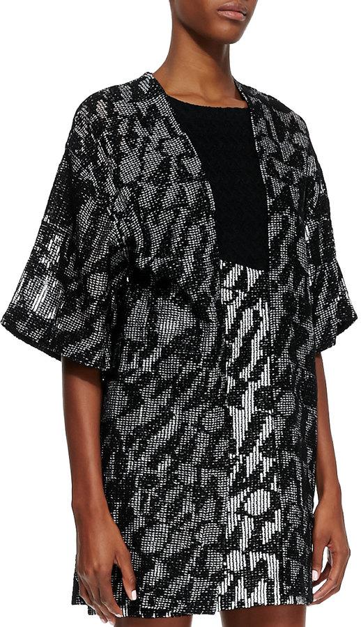 Missoni Short-Sleeve Logo Net Cardigan, Black
