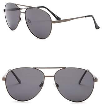 Steve Madden 62mm Aviator Polarized Metal Frame Sunglasses