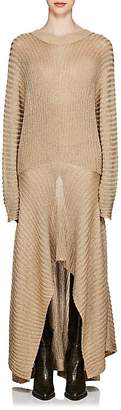 Chloé Women's V'd Back Metallic Rib-Knit Gown
