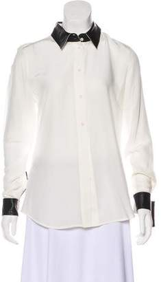 Karl Lagerfeld Leather-Trimmed Long Sleeve Top