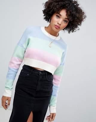 Missguided stripe crop sweater in pastel