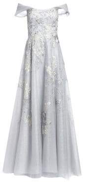 Teri Jon by Rickie Freeman Off-The-Shoulder Floral-Embroidered Lace& Tulle A-Line Gown