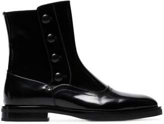 Alexander McQueen black Button-detail leather ankle boots