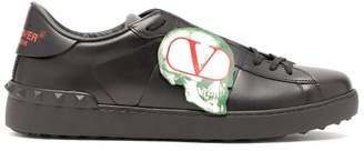 Valentino X Undercover Skull Applique Leather Trainers - Mens - Black
