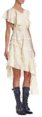 Chloé Silk Asymmetrical Ruffle Dress