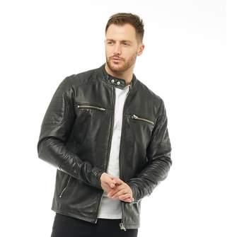 Onfire Mens Leather Jacket Black