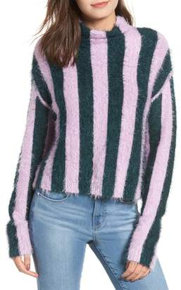 Blank NYC BLANKNYC Stripe Funnel Neck Eyelash Sweater
