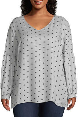 Liz Claiborne Printed Balloon Sleeve Blouse - Plus