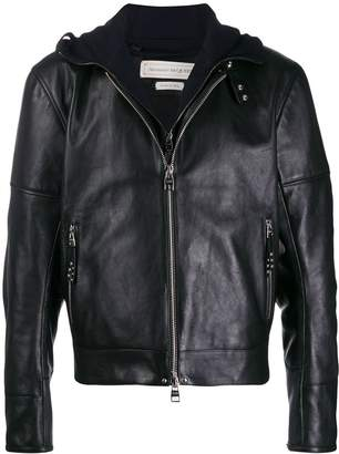 Alexander McQueen hooded leather jacket
