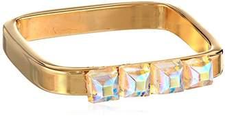 Chamak by Priya Kakkar Medium Thick Gold Square Four Crystals Ring