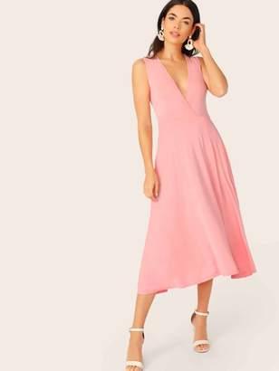 Shein Plunging Neck Pocket Side Wrap Dress