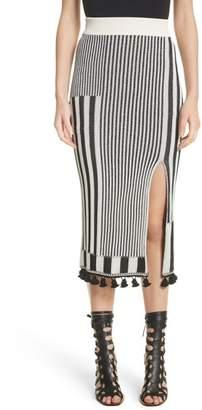 Altuzarra Tassel Trim Stripe Pencil Skirt