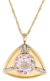 18K Morganite and Diamond Triangle Pendant Necklace
