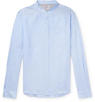 Brunello Cucinelli Grandad-Collar Striped Linen Shirt - Men - Blue