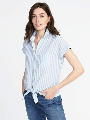 Old Navy Relaxed Tie-Front Linen-Blend Shirt for Women