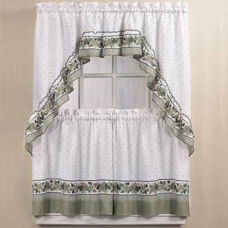 CHF Cottage Ivy 3-pc. Rod-Pocket Kitchen Curtain Set
