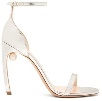 Nicholas Kirkwood Mira Pearl Heeled Metallic Leather Sandals - Womens - Silver
