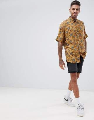Asos DESIGN regular mustard paisley printed shirt in viscose
