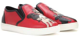 Dolce & Gabbana Leather slip-on sneakers