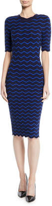 Milly Textured Wave Knit Sheath Dress