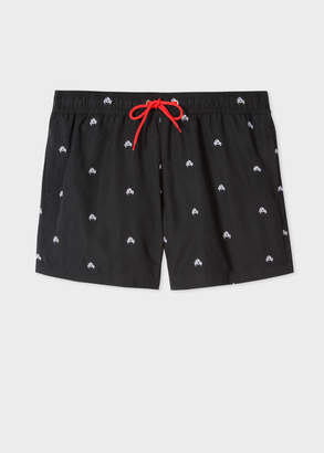Paul Smith Men's Black Swim Shorts With 'Crab' Embroidery