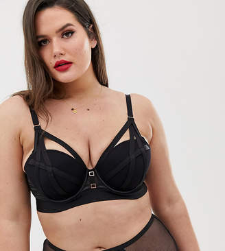 90afefa2f38 City Chic Onyx cut-out strapping bra in black