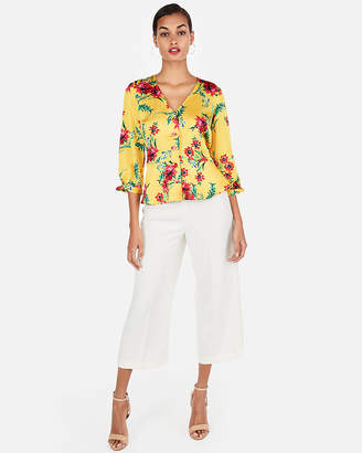 Express Floral Button Front Twist Cuff Blouse
