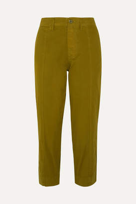 Alex Mill Cropped Cotton-blend Twill Tapered Pants - Green