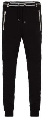 Balmain Slim Leg Biker Style Track Pants - Mens - Black