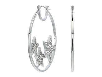 GUESS Hoop with Pave Floating Hearts Earrings