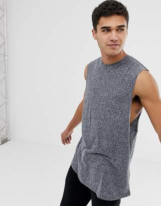 013ba234eeec8 Asos Design DESIGN relaxed longline sleeveless t-shirt with curved hem in  grey interest fabric