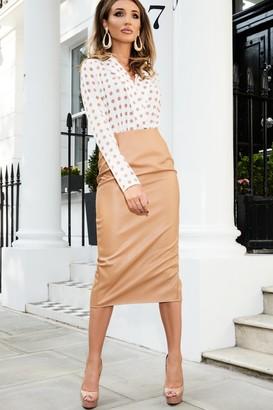 Girls On Film Studio Mouthy Tan Leather Midi Pencil Skirt
