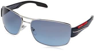 Prada Men's PS53NS-1BC5I1-65 Rectangle Sunglasses