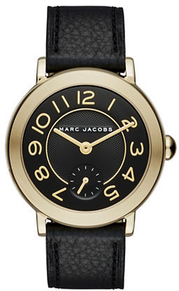 Marc Jacobs Marc Jacobs Riley Goldtone Stainless Steel Leather Strap Dress Watch, CLSC36IPGBLKSTRP