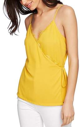 1 STATE 1.STATE Sleeveless Lace-Trim Wrap Top