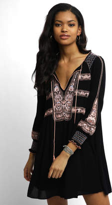 Free People Long Sleeve Wind Willow Embroidered Peasant Dress