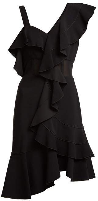 Ruffle one-shoulder stretch-cady dress