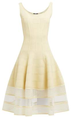 Alexander McQueen Panelled Stretch Knit Midi Dress - Womens - Light Yellow