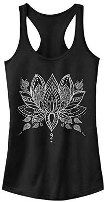 Chin-Up Women's Henna Lotus Flower Ideal Racerback Graphic Tank Top