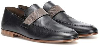 Brunello Cucinelli Embellished leather loafers