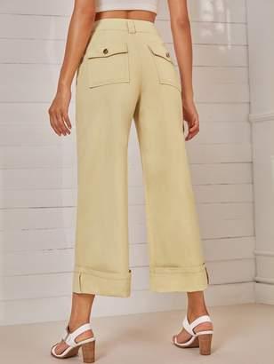 Shein Dual Pocket Back Wide Leg Pants
