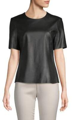 ADAM by Adam Lippes Short-Sleeve Leather Top