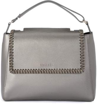 Orciani Sveva Medium Carbon Metal Leather Handbag With Chain