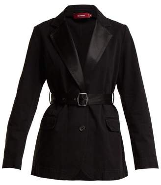 Sies Marjan - Terry Satin Lapel Single Breasted Cotton Blazer - Womens - Black
